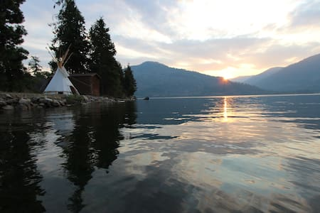 Tipi on private beach at Lake Pend Oreille ranch