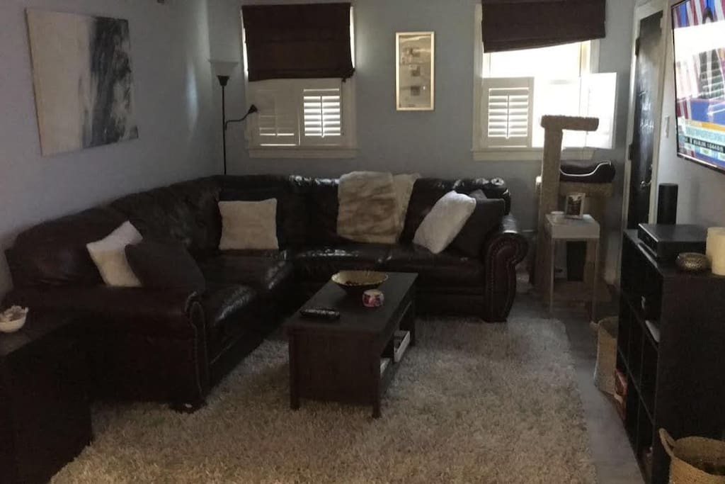 Spacious Living Room with coffee table/fold out desk