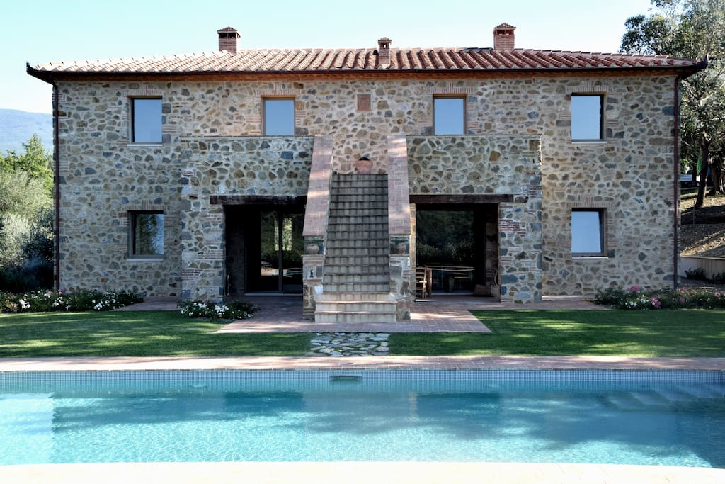 Villa main entrance with pool