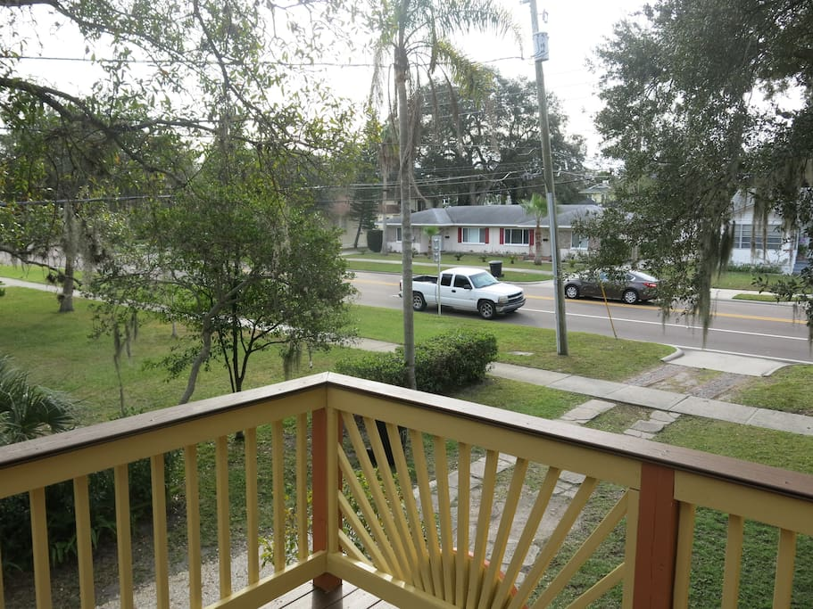 View of the street from the top floor patio.