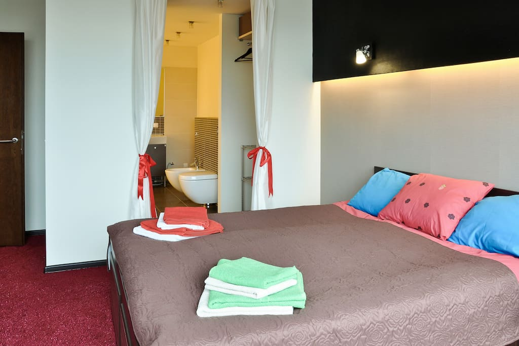 VIP bedroom (nice view to the Old Town) with the new carpet, with own modern bathroom, one double bed (200x160)