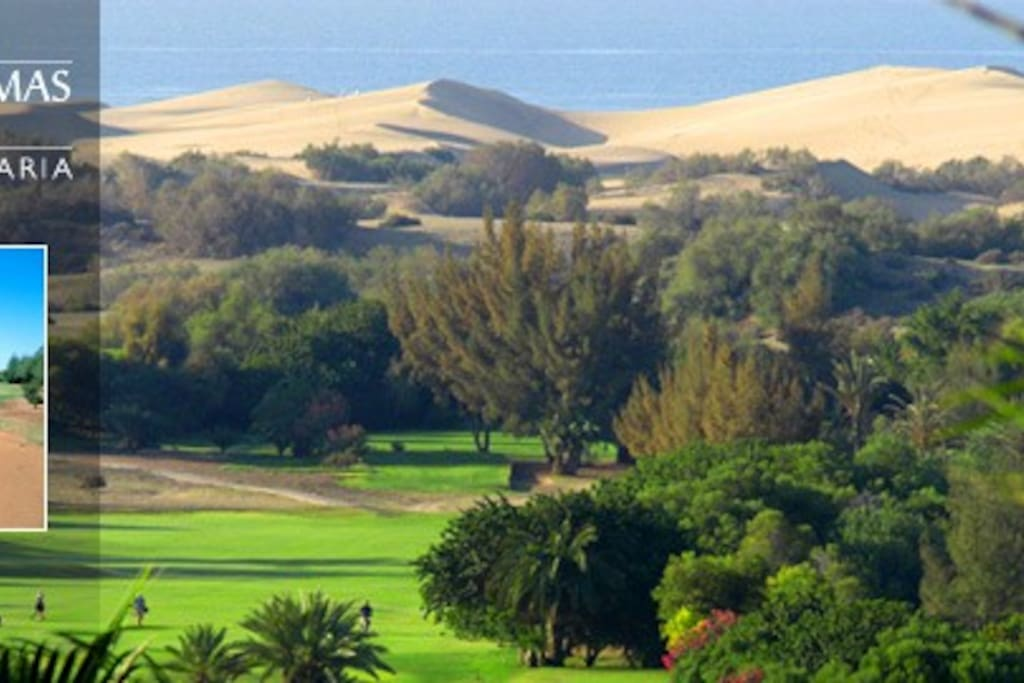 The incredible Campo de Golf Maspalomas together with Maspalomas Dunes at 50 meters