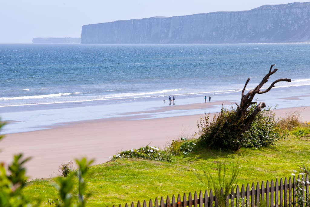 The Beach, with the daytime view of the cliffs
