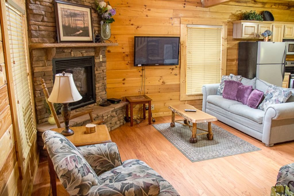 Living area with gas log fireplace and large TV