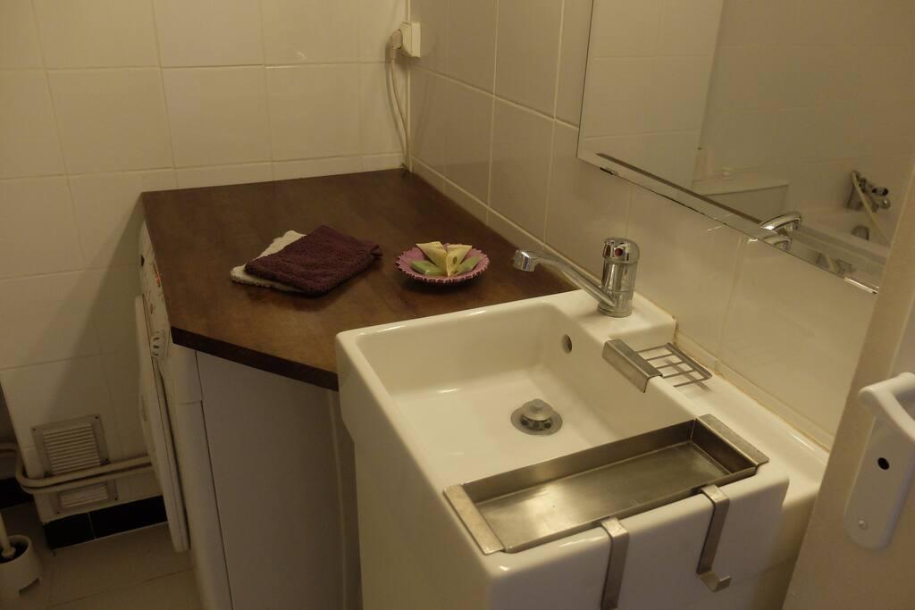 salle de bain avec rangements, lave linge, wc , baignoire et lavabo.
