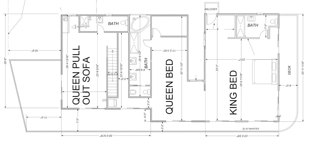 Layout. Queen pull out sofa is a king size american leather sleeper now.