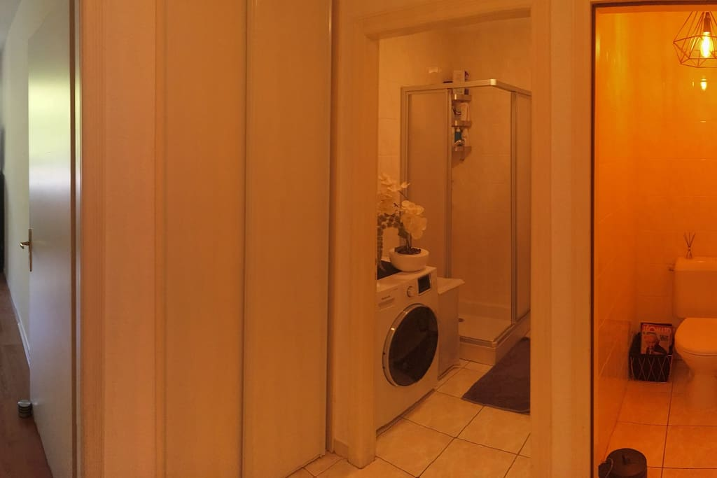 Espace voyageur: chambre, salle de douche et toilettes