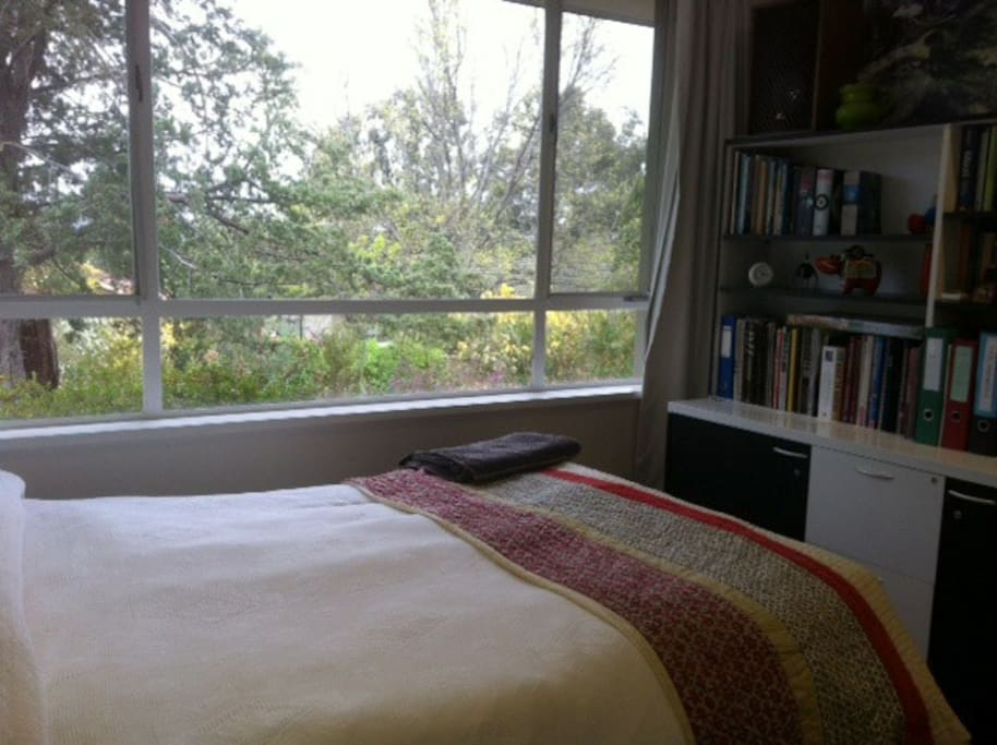 Double bedroom view of font garden