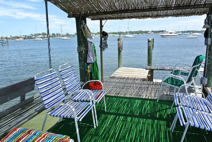 Pier Seating on our private dock  over the water!