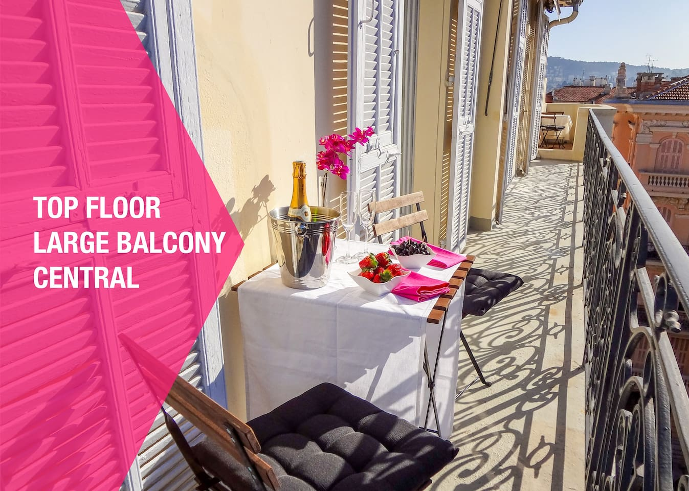 Beautiful apartment. Best of all, it comes with something that is in short supply in Nice - a very long balcony with stunning views. Enjoy dining al fresco as you take in the views over the rooftops to the hills beyond. Up here, it is hard to believe that you are in the heart of Nice!