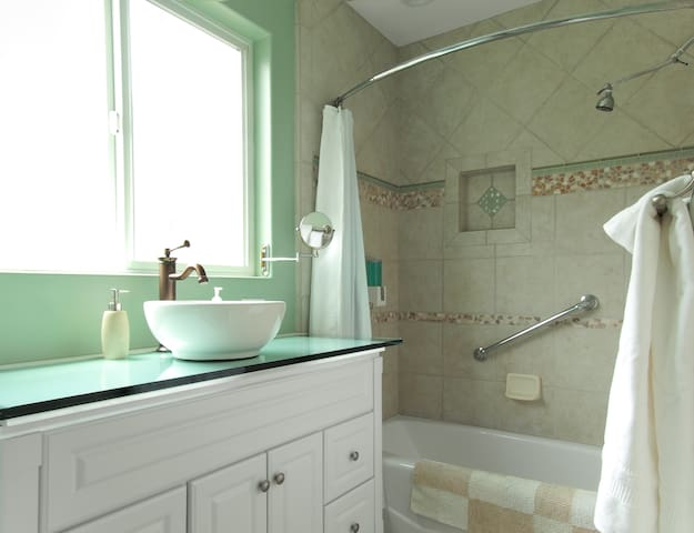 Glass counter and gorgeous tile work