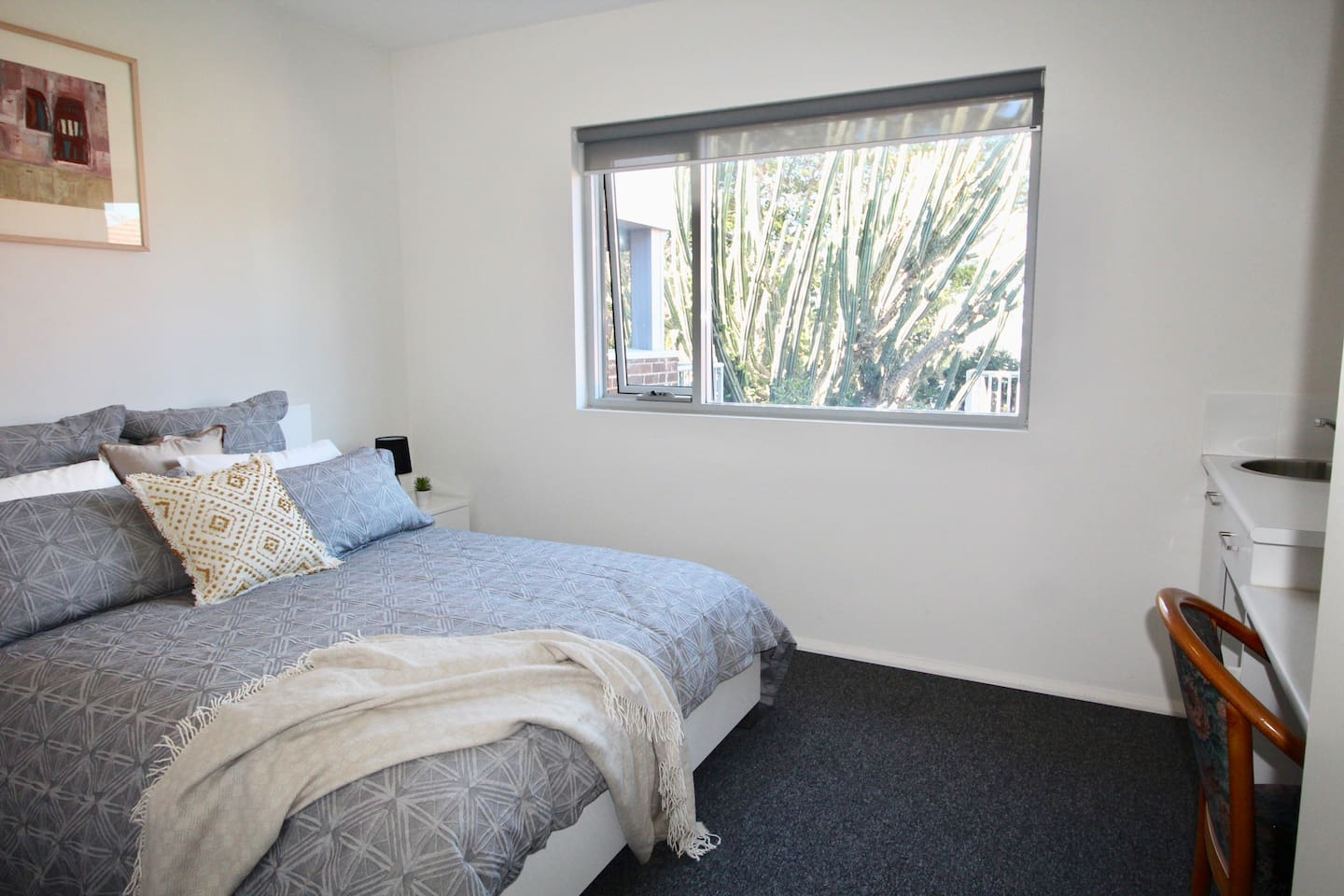 Comfortable double bed, kitchenette and dedicated work space