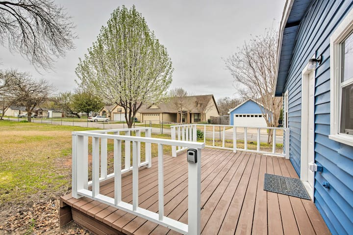 The pet-friendly home has a spacious fenced-in yard for your furry friends!