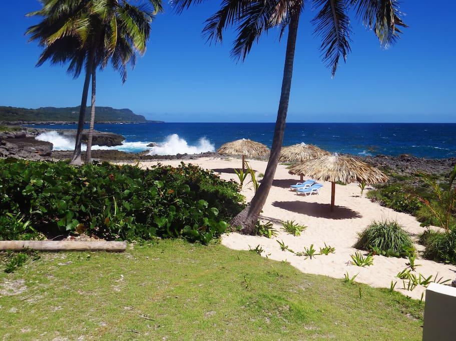 Private beach behind the villa