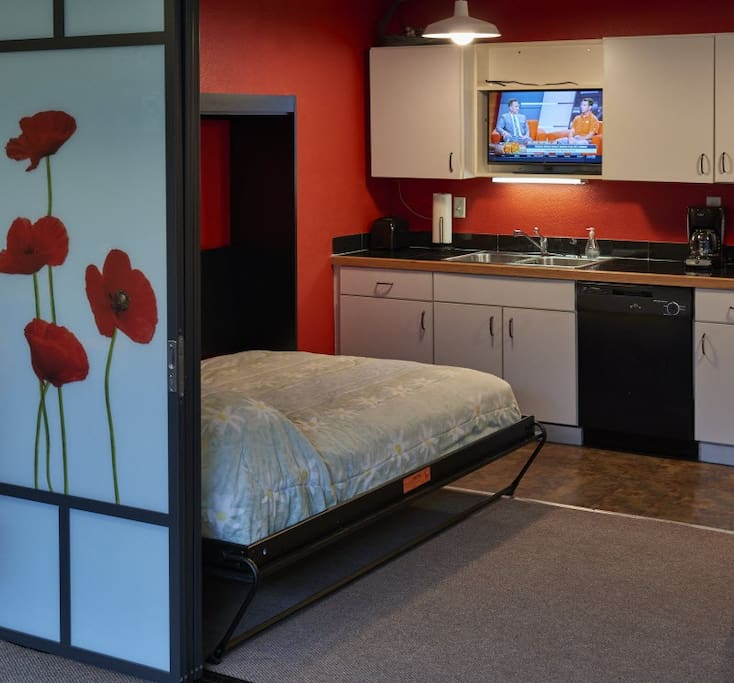 Murphy bed provides second sleeping area, shown here with sliding wall partially closed.