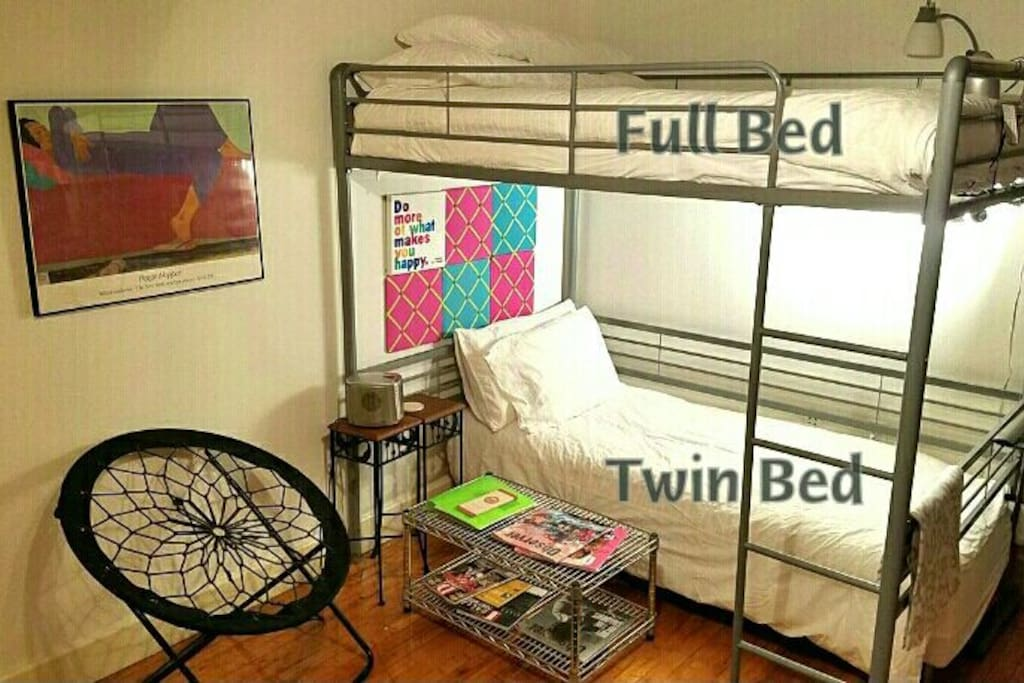 SLEEP : Option for up to 3 guests. Twin Bed below, Full Loft Bed above