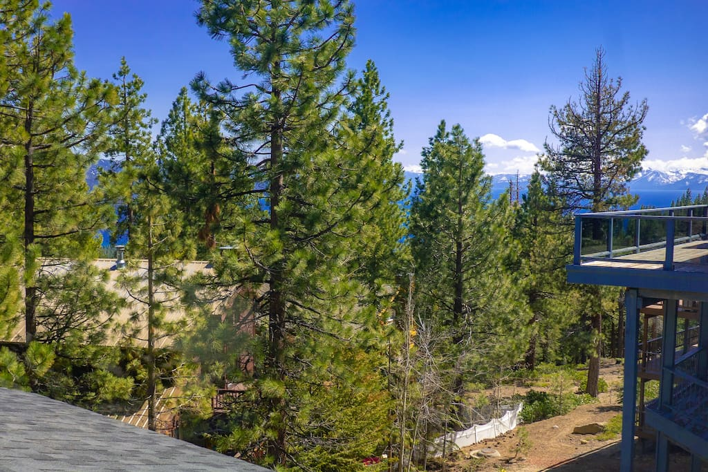Views of Lake Tahoe from the top floor landing at the entrance to the master suite.  This is the highest point inside the house so you see the most water from here since you are looking over a lot of the treetops.  Some of these Jeffrey Pines are 80+ feet tall.