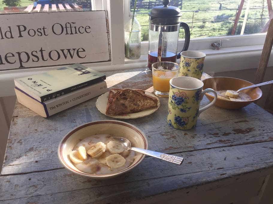 A country breakfast at Fred's Table in the Mail Room.