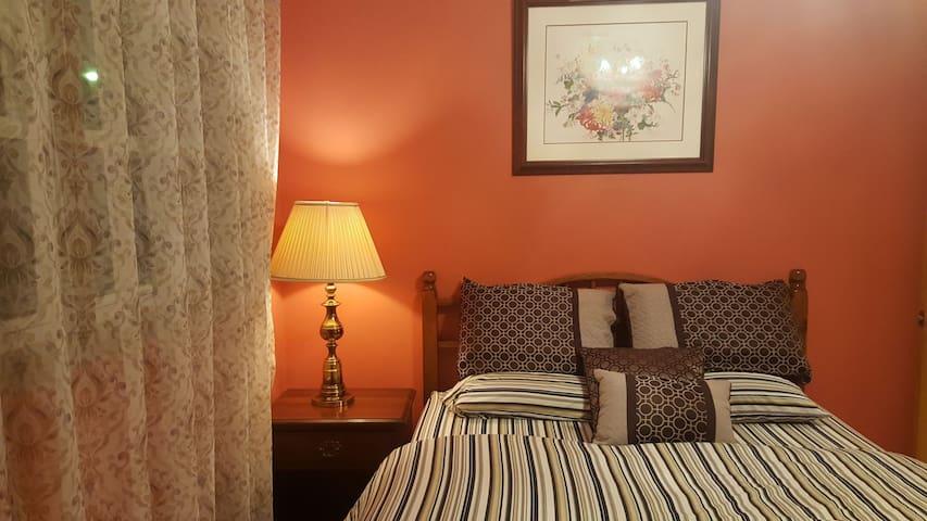 Bedroom #3 comfortable queen bed with memory foam mattress.
