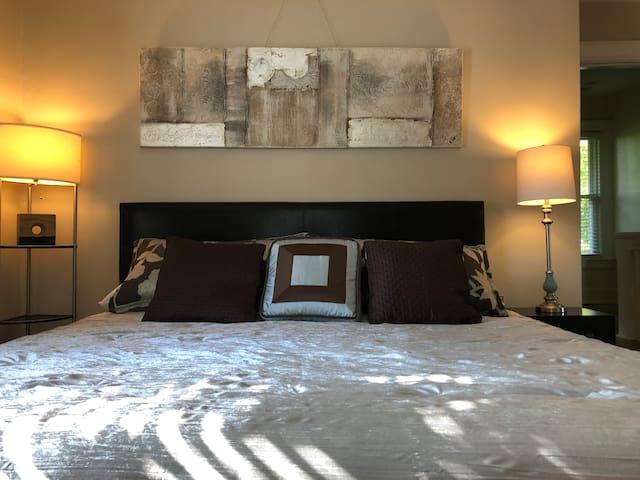 Bedroom 1 -  The Halstead Room:  King bed,  large closet;  dappled evening sunlight illuminates this room.