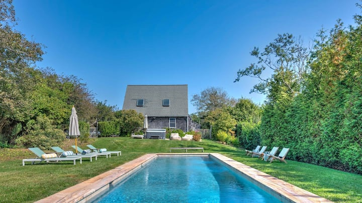 New Listing: Contemporary, Fully Amenitized Farmhouse Steps to Lake Montauk, With Heated Saltwater Pool and Hot Tub