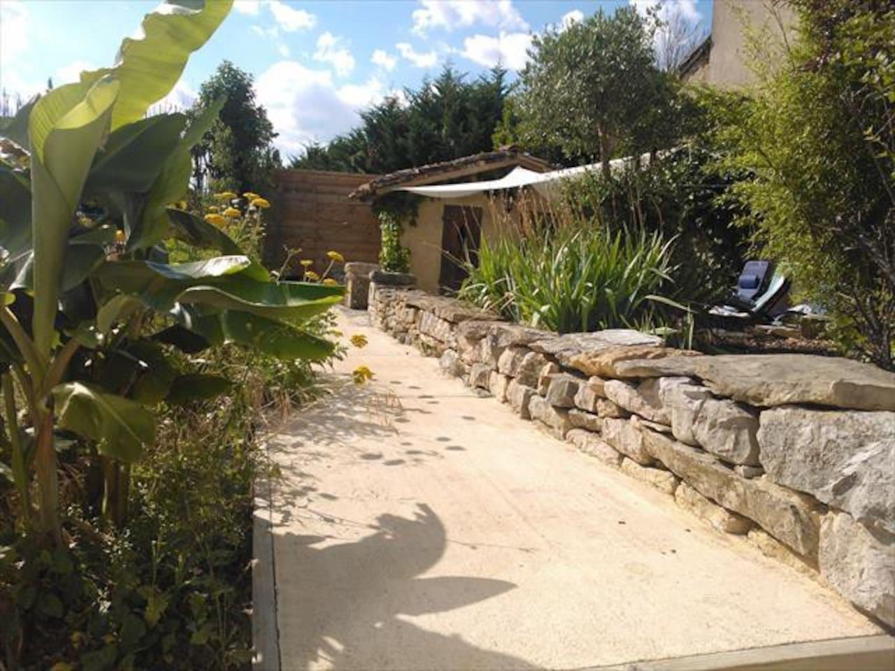 Sunny enclosed garden