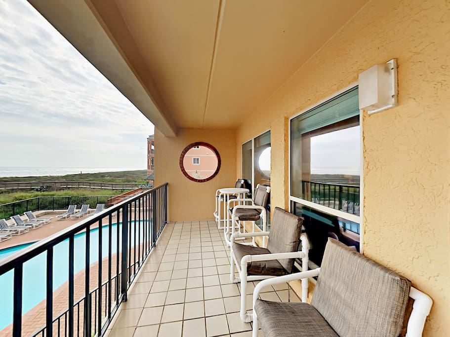Plenty of seating for enjoying the views from the private balcony.