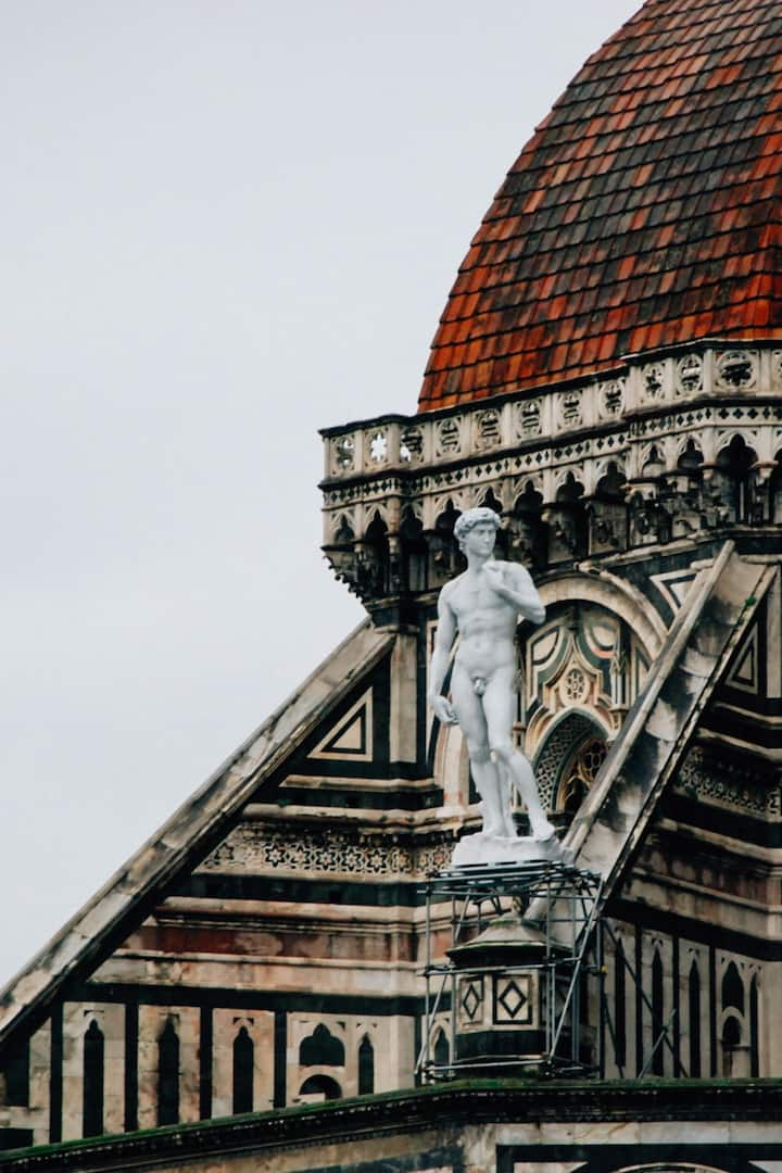Michelangelo David up in the air