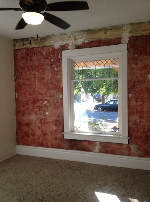 Living Room, Original Red Plaster Wall & Leaded Glass Window