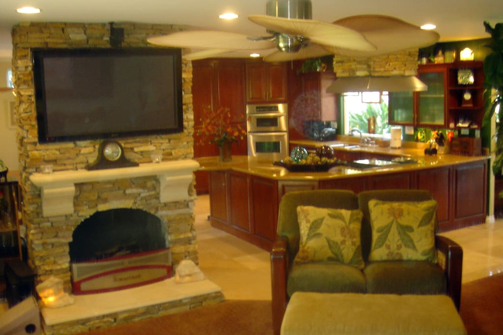 Living room with TV and fireplace