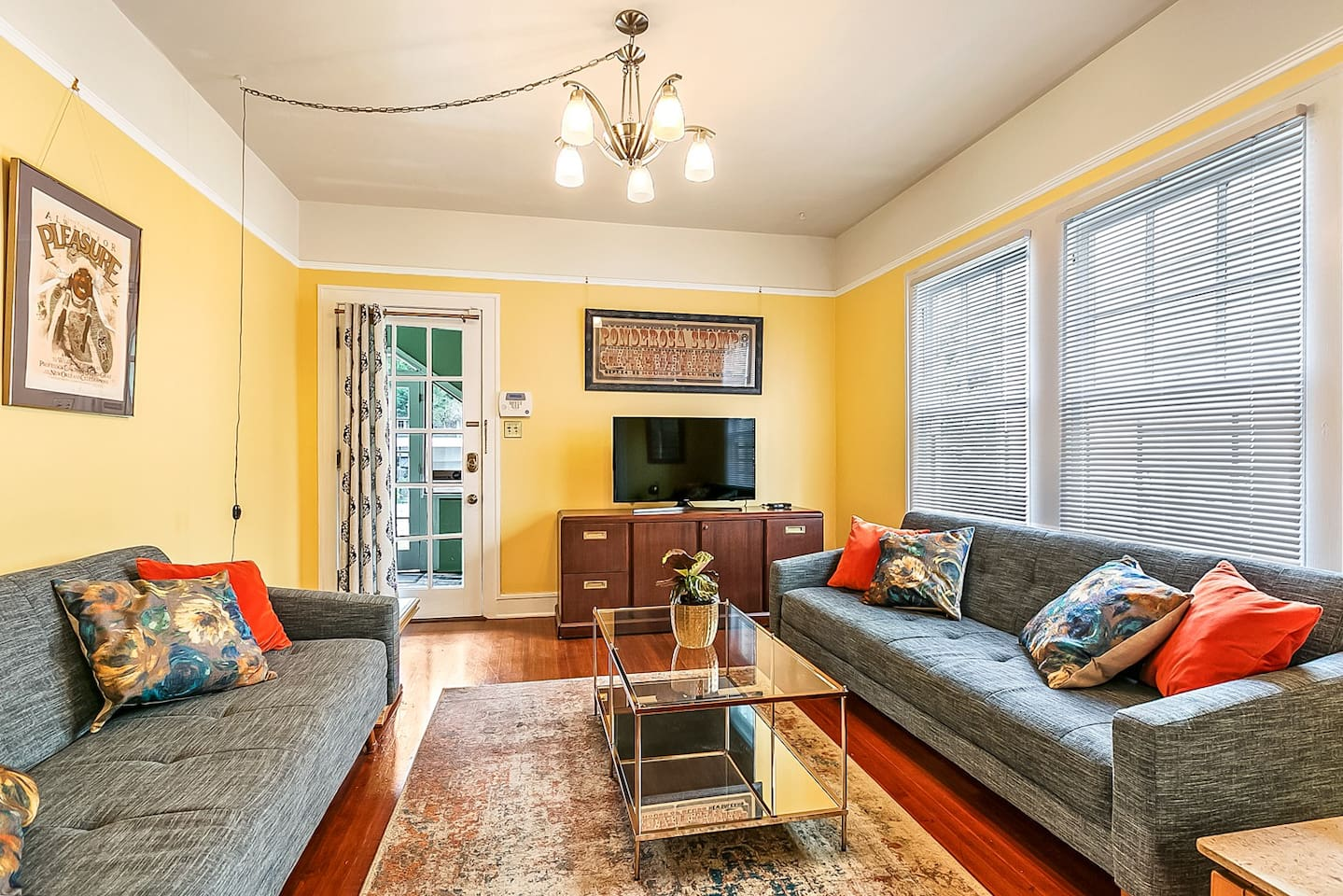 Living room has smart TV w/satellite TV & HBO. Sofas can be opened into futon beds