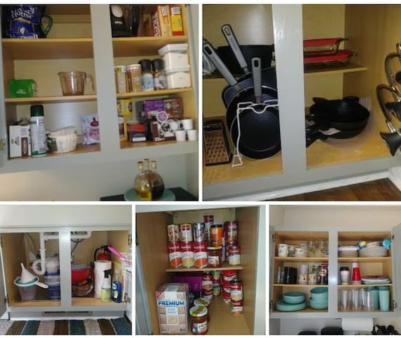 What is in kitchen cabinets...you won't go hungry here.