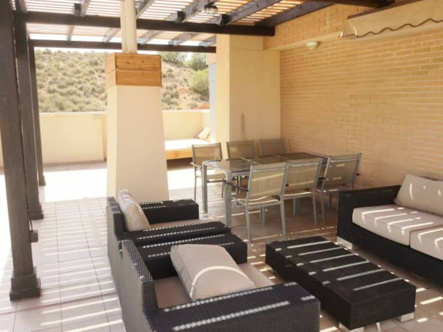 50m2 Roof top terrace with shade and sun filled lounge areas