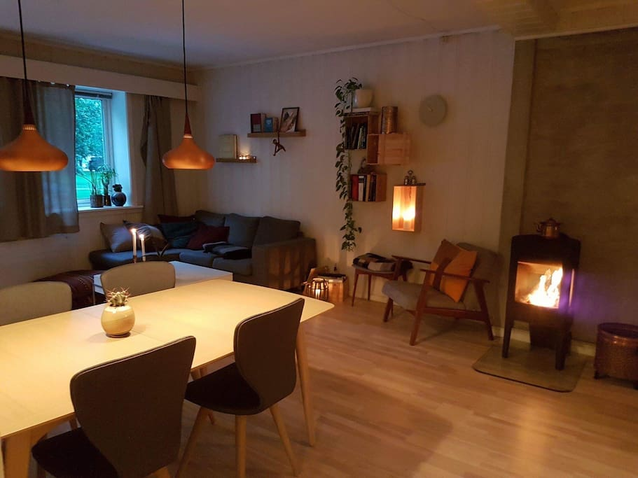 Cozy living room with large dining table and fireplace