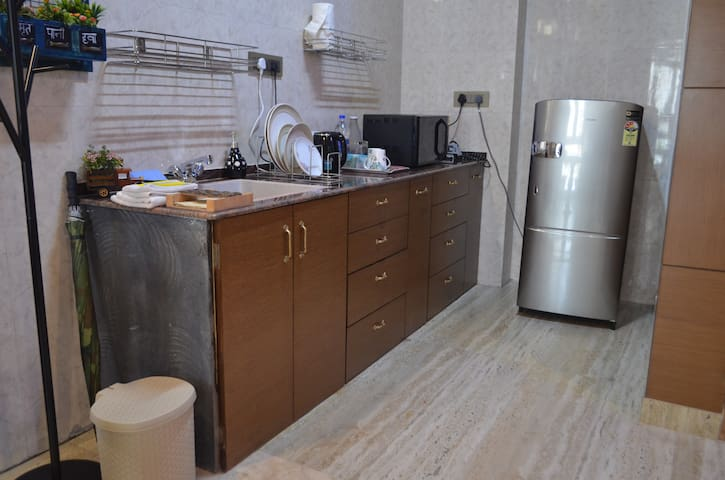 The kitchenette with fridge
