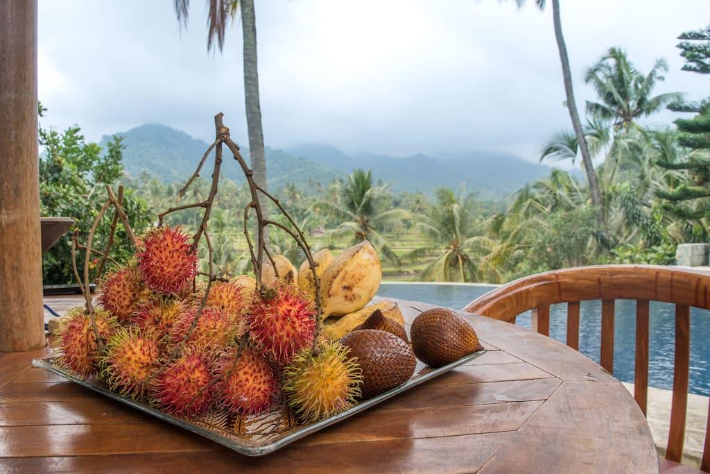 Enjoy local Balinese fruit from our garden