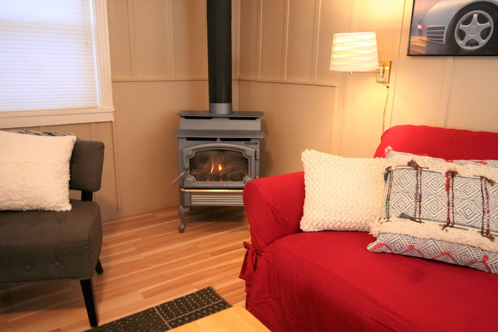 Living room with gas stove fireplace
