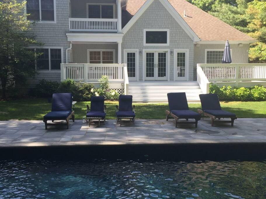 Pool area has beautiful furniture