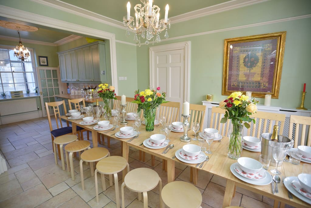 Dining room on the ground floor with sea views.  This table can seat 20 guests, when the table is pulled out to full capacity.