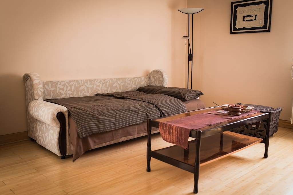 Living room convertible couch can be used as a sleeping bed for two, with 6 cm Dormeo mattress for added comfort.