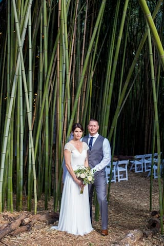 Beautiful couple in the bamboo with guest chairs in the background