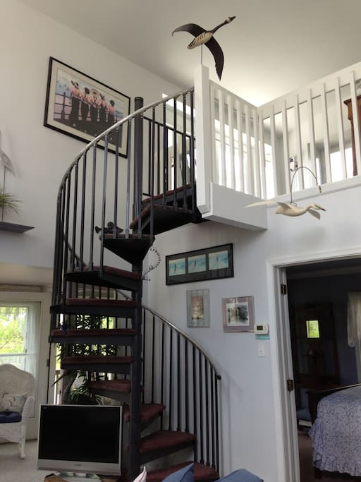 'Upstairs' 2nd floor spiral staircase to ocean view sitting area, adjacent to master BR & Bath third floor.8