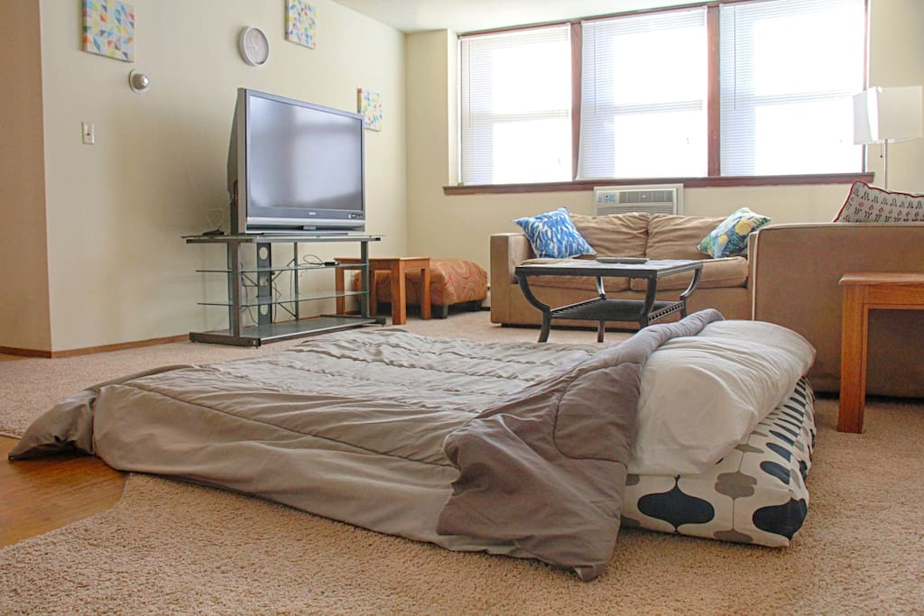 Futon pulls out to a full-size bed