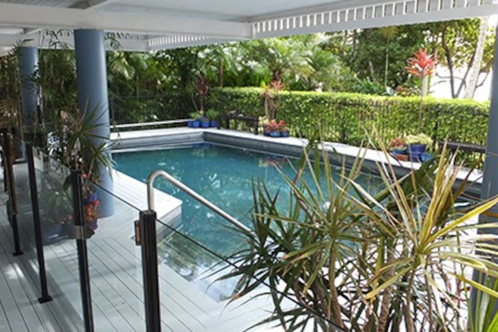 The pool. Check in time is 2pm and check-out time is 10am.