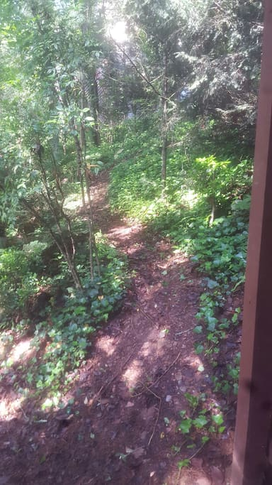 Path to parking area off the private deck