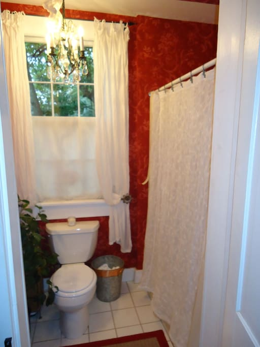 French wallpaper in sterile, private bath with tub/shower!