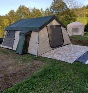 4 person cabin tents. primitive camping!