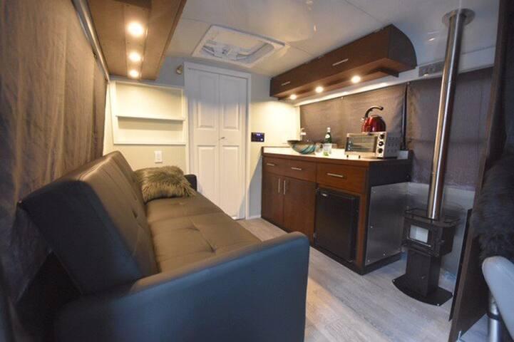 Unique Short School Bus Conversion - Studio Style