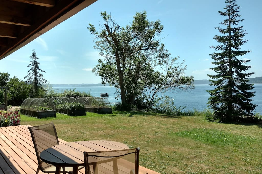 View from deck, Puget Sound, vegetable gardens for guests to pick from.