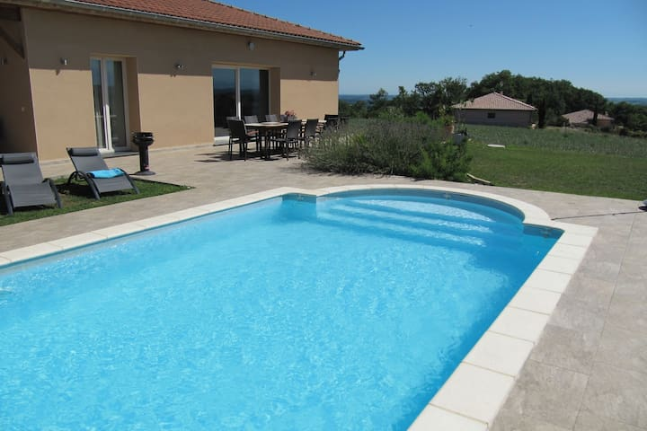 Luxurious child-friendly villa with heated private pool and stunning view.